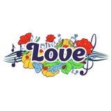 Rotulação da tipografia do amor com elementos da flor Fotografia de Stock Royalty Free