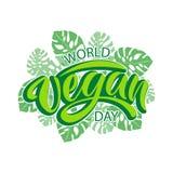 Rotulação da tipografia do dia do vegetariano do mundo fotografia de stock royalty free