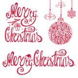 Rotulação da tipografia do Natal, grupo de elementos do cartão ilustração do vetor