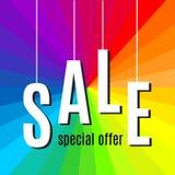 Rotulação da venda no fundo do arco-íris Vetor Foto de Stock Royalty Free