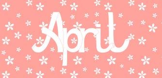 Rotulação de abril em um fundo cor-de-rosa Foto de Stock Royalty Free