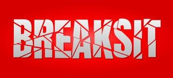 Rotulação de Breaksit Brexit no fundo vermelho ilustração royalty free