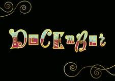 Rotulação de dezembro com letras diferentes em cor-de-rosa e em azul com esboços dourados e elementos decorativos no fundo preto ilustração royalty free