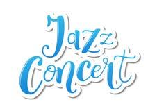 Rotulação de Jazz Concert no azul com esboço branco no fundo branco ilustração stock