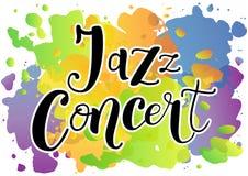 Rotulação de Jazz Concert no preto com esboço branco no fundo colorido ilustração royalty free