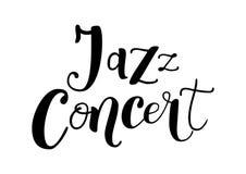 Rotulação de Jazz Concert no preto isolada no fundo branco ilustração royalty free