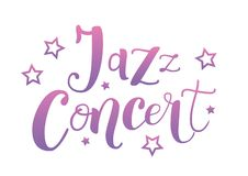 Rotulação de Jazz Concert no roxo cor-de-rosa com as estrelas no fundo branco ilustração stock