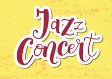 Rotulação de Jazz Concert no vermelho com esboço branco no fundo textured amarelo ilustração do vetor