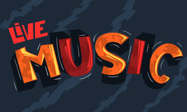 Rotulação de Live Music Artistic Cool Comic Inscrição dos desenhos animados Imagem de Stock Royalty Free