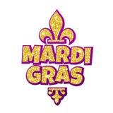 Rotulação de Mardi Gras Fleur de Lis para o carnaval do disfarce ilustração do vetor