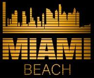 Rotulação de Miami Beach, construções da silhueta do ouro com linhas pretas Cartão do curso ilustração stock