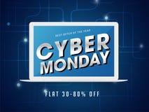 Rotulação de segunda-feira do Cyber na tela do portátil com disconto 30-80% fora ilustração stock