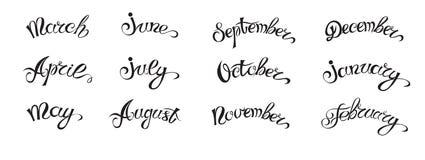 Rotulação desenhado à mão ajustada com os nomes dos meses do ano, pretos no branco ilustração do vetor