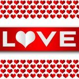 Rotulação do amor com um coração Fotos de Stock Royalty Free