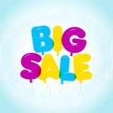 Rotulação do balão, texto grande colorido da venda Arredondado, semi-transparente, letras da bolha em um fundo do céu azul Foto de Stock