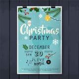 Rotulação do cartaz da festa de Natal no fundo de madeira da textura Imagens de Stock