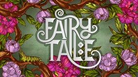 Rotulação do conto de fadas decorada com flores e as folhas coloridas Fotos de Stock Royalty Free