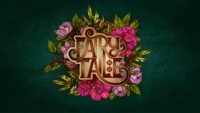 Rotulação do conto de fadas decorada com flores e as folhas coloridas Fotografia de Stock