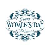 Rotulação do dia da mulher feliz ilustração do vetor