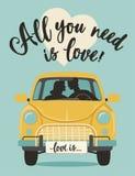 Rotulação do dia de Valentim O cartão de cumprimento romântico escrito à mão com texto todo que do vetor você precisa é amor ilustração stock