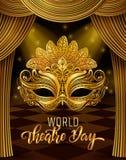 Rotula??o do dia do teatro do mundo Molde do cart?o do convite do partido do carnaval feriados da mola Ilustra??o EPS10 do vetor ilustração stock