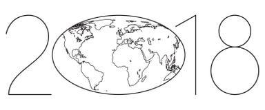 Rotulação 2018 do esboço do globo Foto de Stock