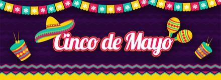 Rotulação do estilo da etiqueta de Cinco De Mayo com ilustração do chapéu, dos maracas e do cilindro do sombreiro no fundo roxo ilustração stock