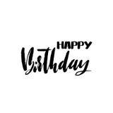 Rotulação do feliz aniversario para o convite e o cartão, as cópias e os cartazes Inscrição escrita à mão calligraphic ilustração royalty free