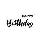 Rotulação do feliz aniversario para o convite e o cartão, as cópias e os cartazes Inscrição escrita à mão calligraphic ilustração stock