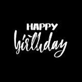 Rotulação do feliz aniversario para o convite e o cartão, as cópias e os cartazes Inscrição escrita à mão calligraphic ilustração do vetor