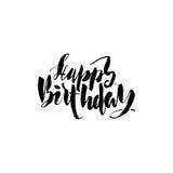 Rotulação do feliz aniversario para o convite e o cartão, as cópias e os cartazes Inscrição tirada mão, caligráfica Fotografia de Stock Royalty Free