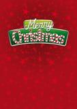 Rotulação do Feliz Natal Tampa vermelha do cartão com textura das estrelas no fundo Tamanho da disposição: 21 cm x 29 7 cm Tamanh Fotos de Stock Royalty Free
