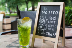 Rotulação do giz de Mojito Cocktail e receita no quadro-negro Fotografia de Stock