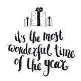 Rotulação do inverno do Natal do vetor, citações do cumprimento Fotos de Stock Royalty Free