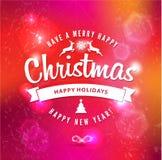 Rotulação do Natal e do ano novo feliz Fotografia de Stock