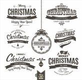 Rotulação do Natal e do ano novo feliz Imagens de Stock