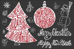 Rotulação do Natal, grupo de elementos do cartão do ano novo ilustração do vetor