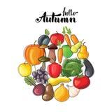 Rotulação do outono com frutas e legumes Ilustração lisa do vetor Imagens de Stock