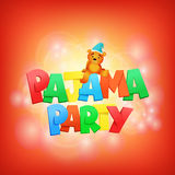Rotulação do partido de pijama Molde do cartão do convite Fotografia de Stock Royalty Free