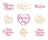 Rotulação do texto do vetor de Valentine Day Valentim felizes do vetor ajustados de citações caligráficas Rotulação no fundo bran ilustração royalty free