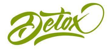Rotulação do verde da DESINTOXICAÇÃO Caligrafia moderna feito a mão ilustração do vetor