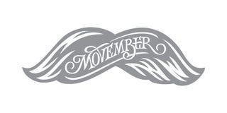 Rotulação do vintage de Movember Conscientização do câncer da próstata Bigodes no fundo isolado branco Ilustração do vetor para ilustração do vetor