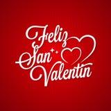 Rotulação do vintage do dia de Valentim Texto de Feliz San Valentin no fundo vermelho ilustração do vetor