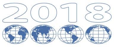 Rotulação 2018 dos globos Foto de Stock Royalty Free