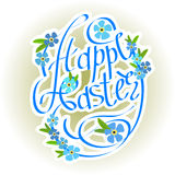 Rotulação e esquecer-mim dos ovos da páscoa flores Imagem de Stock