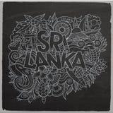 Rotulação e garatujas da mão do país de Sri Lanka Fotografia de Stock