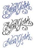 Rotulação escrita à mão caligráfica de New York do vintage Imagens de Stock