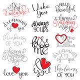 Rotulação escrita à mão do dia feliz do ` s do Valentim ilustração stock