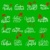 Rotulação escrita à mão do Feliz Natal Emblemas tipográficos ajustados Logotipo do vetor, projeto do texto Útil para bandeiras, c Imagens de Stock Royalty Free