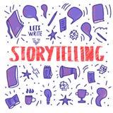 Rotulação escrita à mão do vetor da narração ilustração stock
